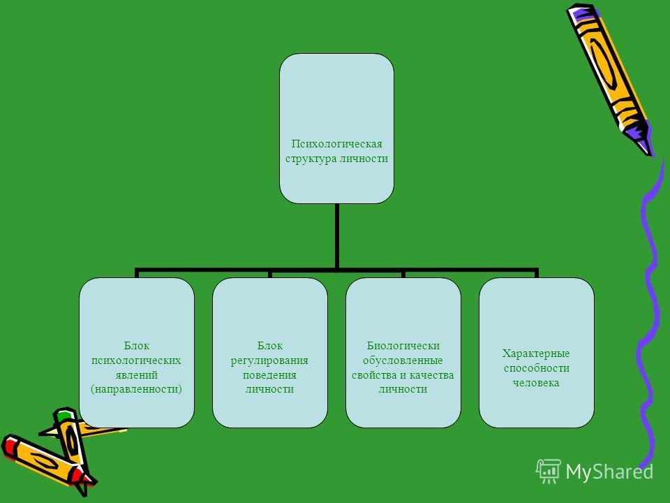Психологическая структура личности Блок психологических явлений (направленности) Блок регулирования поведения личности Биологически обусловленные свойства и качества личности Характерные способности человека