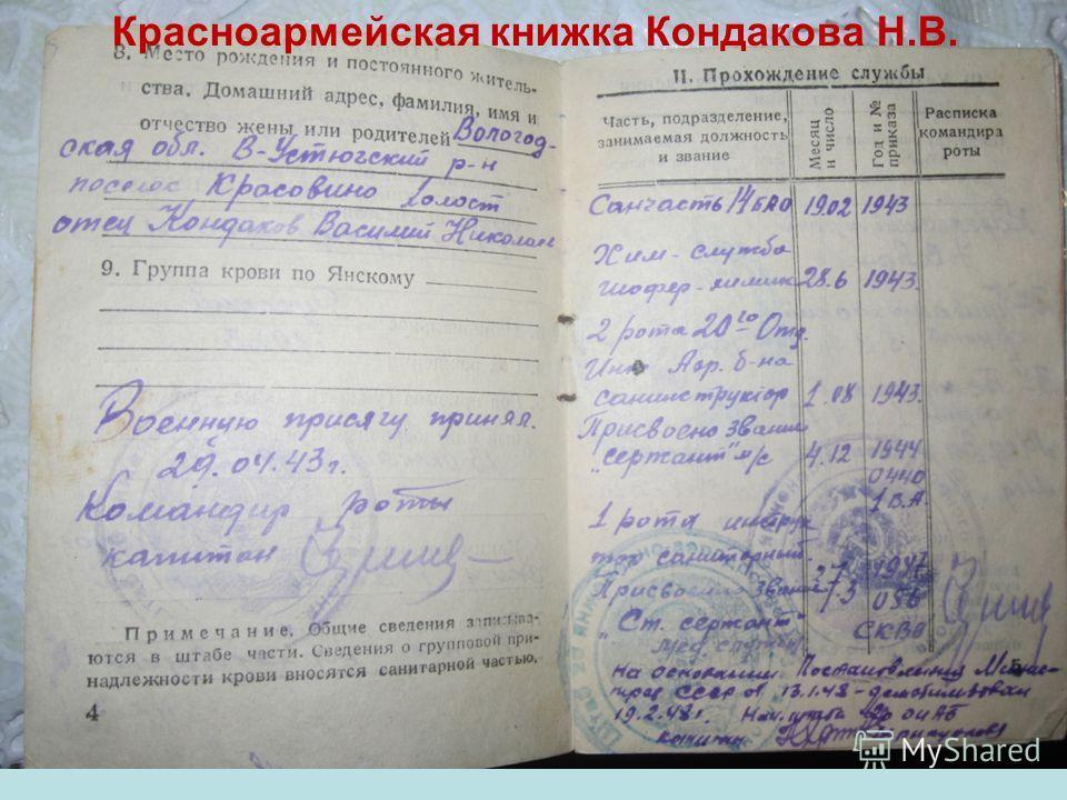 Красноармейская книжка Кондакова Н.В.