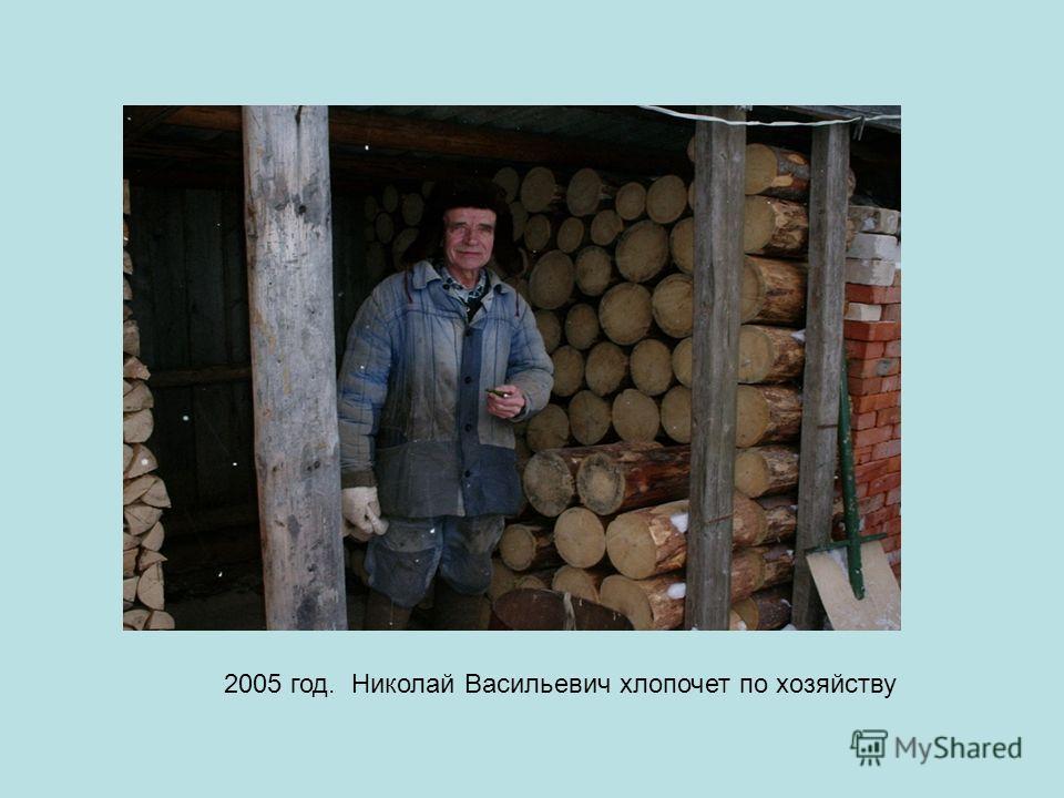 2005 год. Николай Васильевич хлопочет по хозяйству