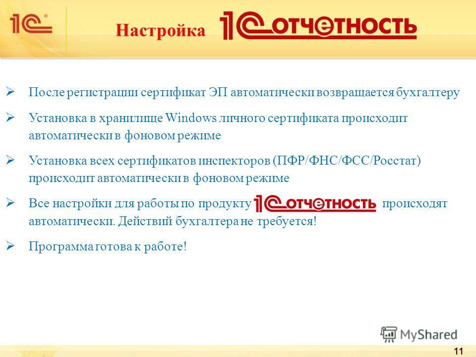 Настройка После регистрации сертификат ЭП автоматически возвращается бухгалтеру Установка в хранилище Windows личного сертификата происходит автоматически в фоновом режиме Установка всех сертификатов инспекторов (ПФР/ФНС/ФСС/Росстат) происходит автом
