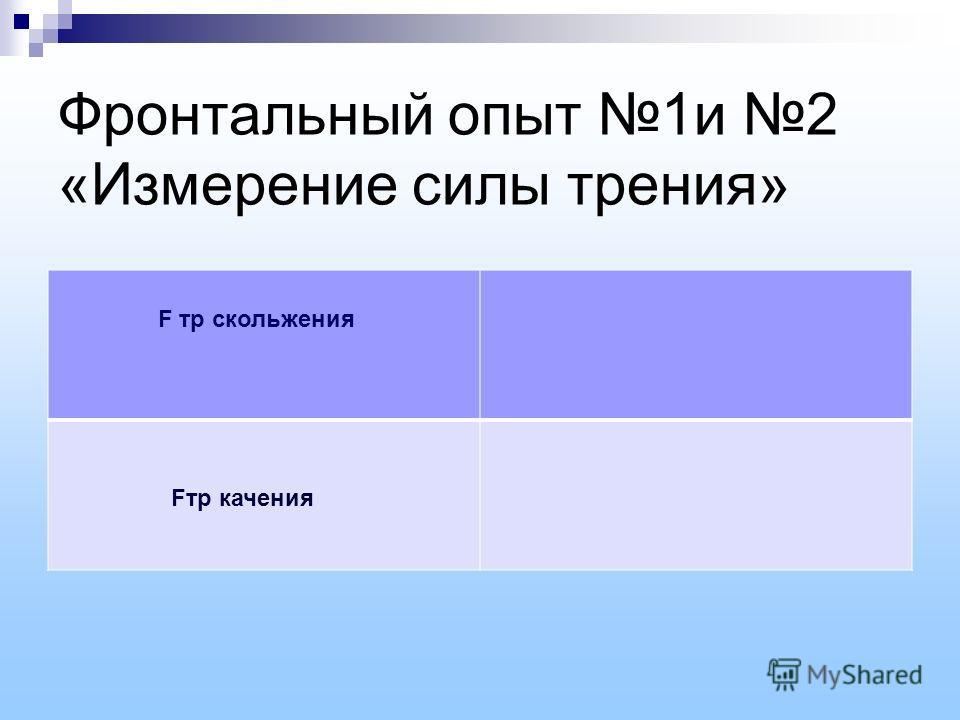 Фронтальный опыт 1и 2 «Измерение силы трения» F тр скольжения Fтр качения