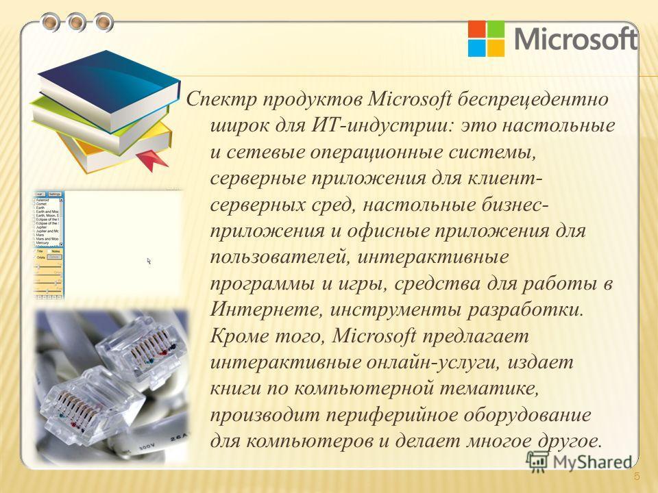 Спектр продуктов Microsoft беспрецедентно широк для ИТ-индустрии: это настольные и сетевые операционные системы, серверные приложения для клиент- серверных сред, настольные бизнес- приложения и офисные приложения для пользователей, интерактивные прог