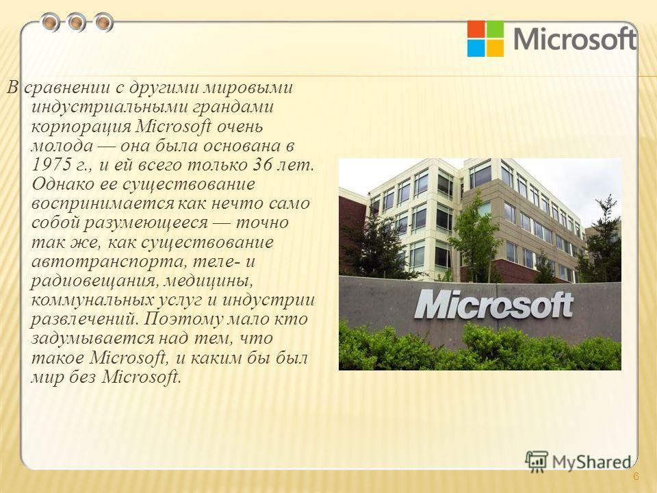 В сравнении с другими мировыми индустриальными грандами корпорация Microsoft очень молода она была основана в 1975 г., и ей всего только 36 лет. Однако ее существование воспринимается как нечто само собой разумеющееся точно так же, как существование