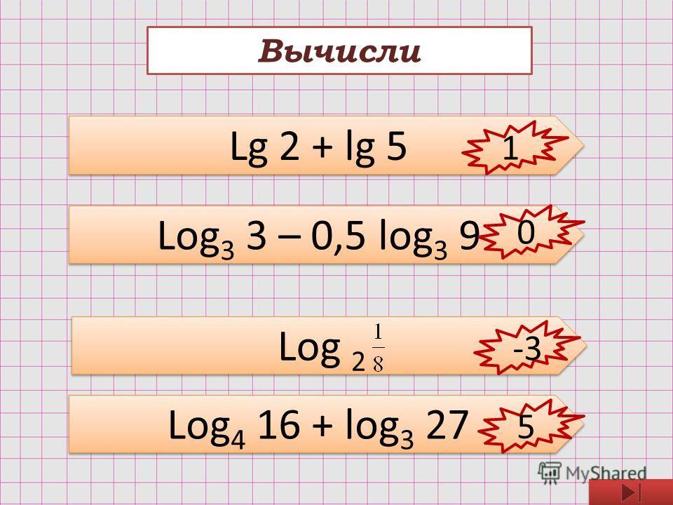 Вычисли Lg 2 + lg 5 Log 3 3 – 0,5 log 3 9 Log 2 Log 4 16 + log 3 27 1 0 -3 5