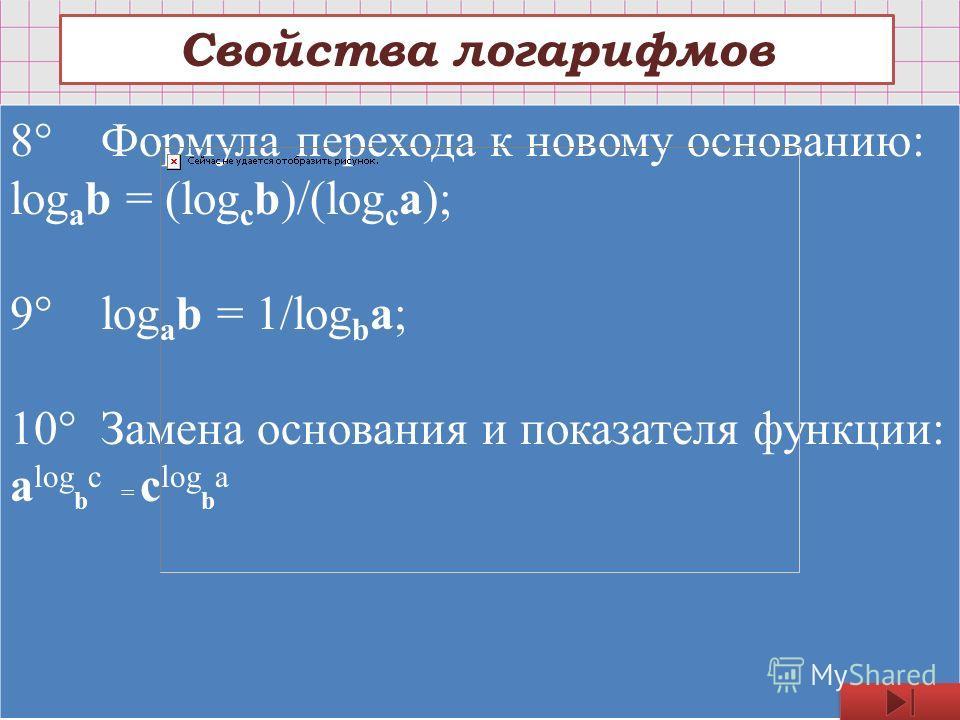 Свойства логарифмов 8° Формула перехода к новому основанию: log a b = (log c b)/(log c a); 9° log a b = 1/log b a; 10° Замена основания и показателя функции: a log b c = c log b a
