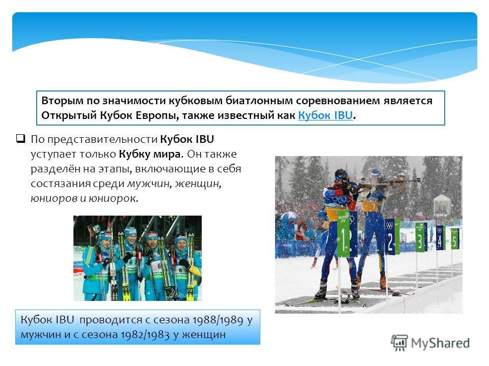 Вторым по значимости кубковым биатлонным соревнованием является Открытый Кубок Европы, также известный как Кубок IBU.Кубок IBU По представительности Кубок IBU уступает только Кубку мира. Он также разделён на этапы, включающие в себя состязания среди