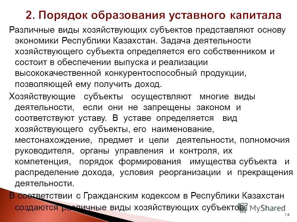 14 Различные виды хозяйствующих субъектов представляют основу экономики Республики Казахстан. Задача деятельности хозяйствующего субъекта определяется его собственником и состоит в обеспечении выпуска и реализации высококачественной конкурентоспособн