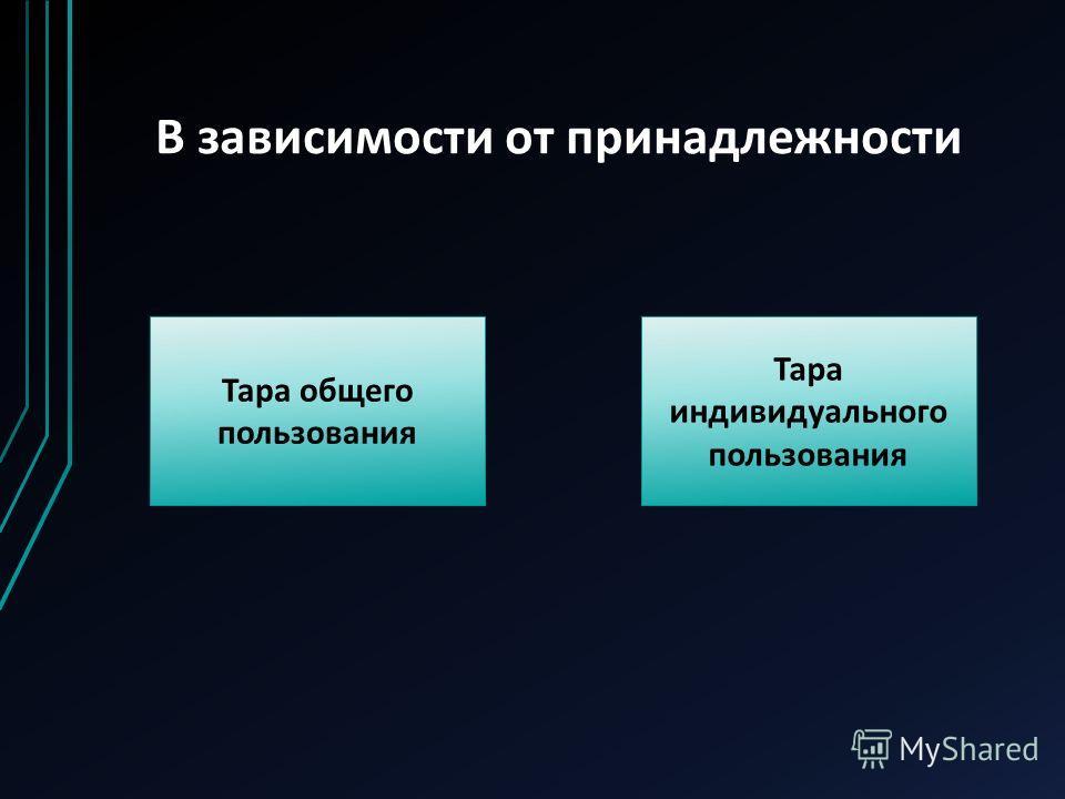 В зависимости от принадлежности Тара общего пользования Тара индивидуального пользования