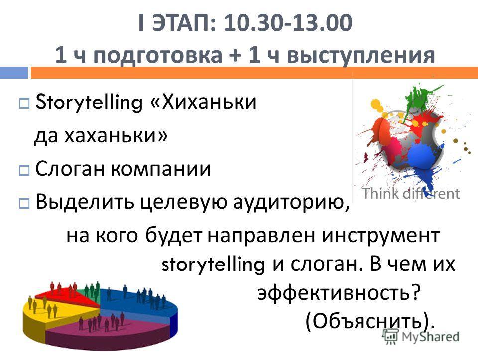 I ЭТАП : 10.30-13.00 1 ч подготовка + 1 ч выступления Storytelling « Хиханьки да хаханьки » Слоган компании Выделить целевую аудиторию, на кого будет направлен инструмент storytelling и слоган. В чем их эффективность ? ( Объяснить ).