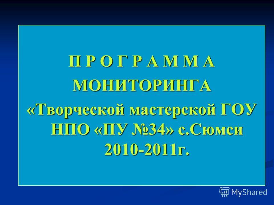 П Р О Г Р А М М А МОНИТОРИНГА «Творческой мастерской ГОУ НПО «ПУ 34» с.Сюмси 2010-2011г.