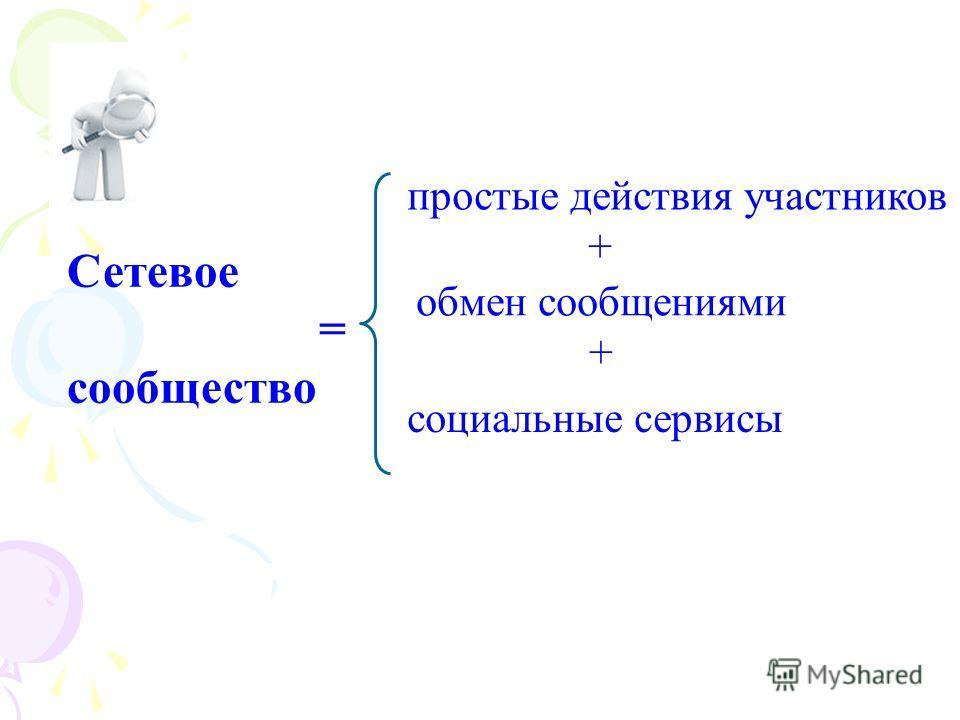 Сетевое = сообщество простые действия участников + обмен сообщениями + социальные сервисы