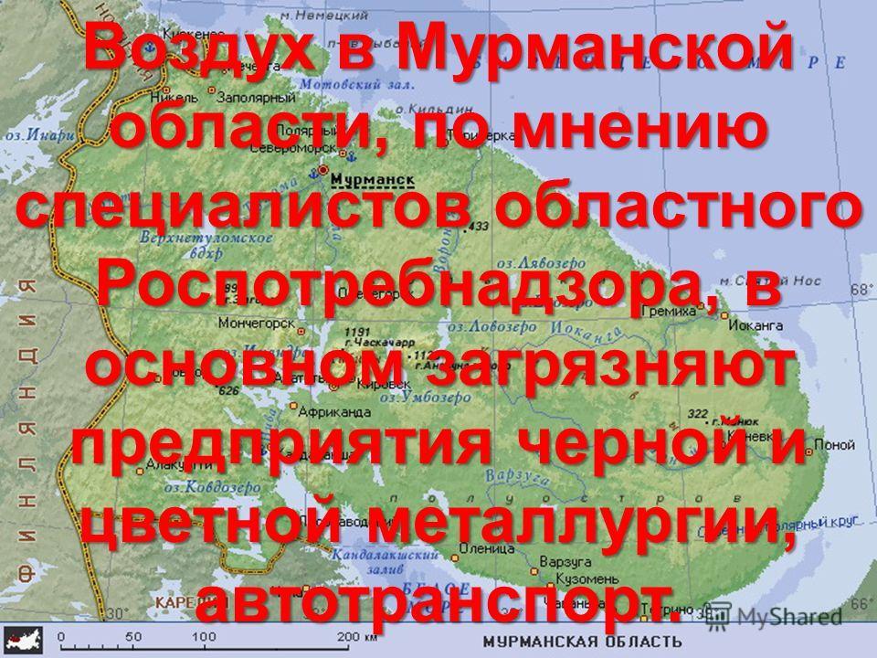 Воздух в Мурманской области, по мнению специалистов областного Роспотребнадзора, в основном загрязняют предприятия черной и цветной металлургии, автотранспорт.