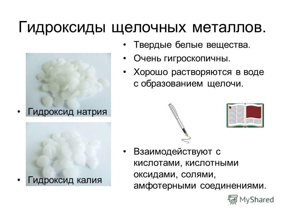 Гидроксиды щелочных металлов. Гидроксид натрия Гидроксид калия Твердые белые вещества. Очень гигроскопичны. Хорошо растворяются в воде с образованием щелочи. Взаимодействуют с кислотами, кислотными оксидами, солями, амфотерными соединениями.