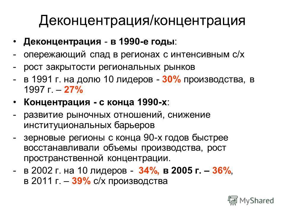 Деконцентрация/концентрация Деконцентрация - в 1990-е годы: -опережающий спад в регионах с интенсивным с/х -рост закрытости региональных рынков -в 1991 г. на долю 10 лидеров - 30% производства, в 1997 г. – 27% Концентрация - с конца 1990-х: -развитие
