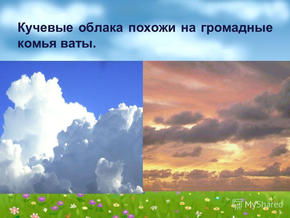 Кучевые облака похожи на громадные комья ваты.
