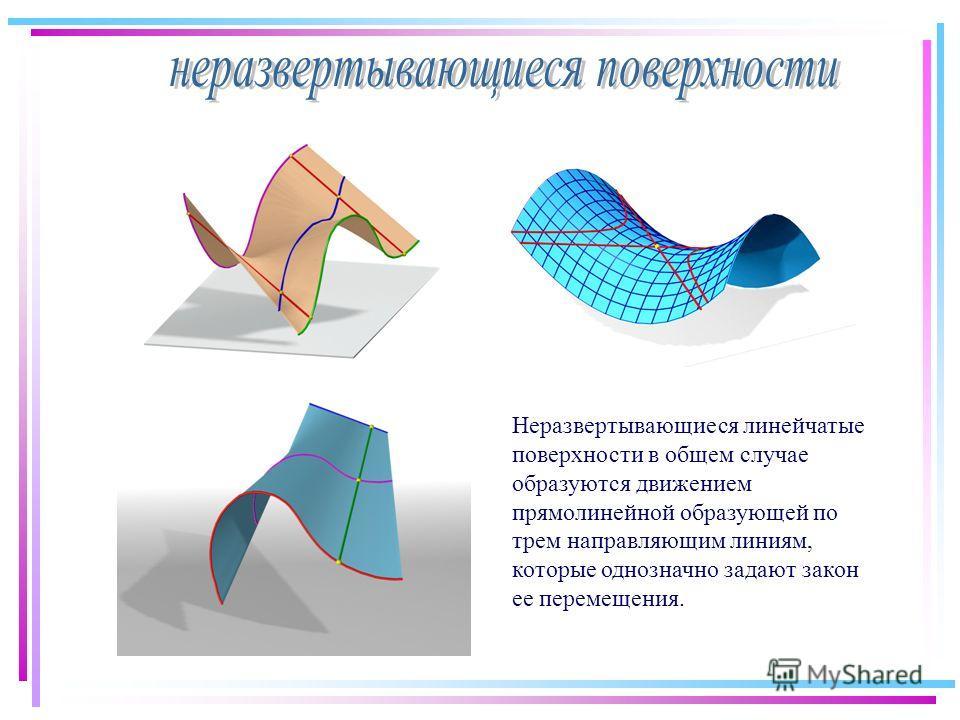 Неразвертывающиеся линейчатые поверхности в общем случае образуются движением прямолинейной образующей по трем направляющим линиям, которые однозначно задают закон ее перемещения.