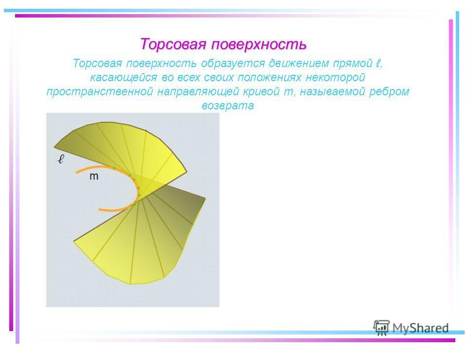 Торсовая поверхность образуется движением прямой, касающейся во всех своих положениях некоторой пространственной направляющей кривой m, называемой ребром возврата Торсовая поверхность