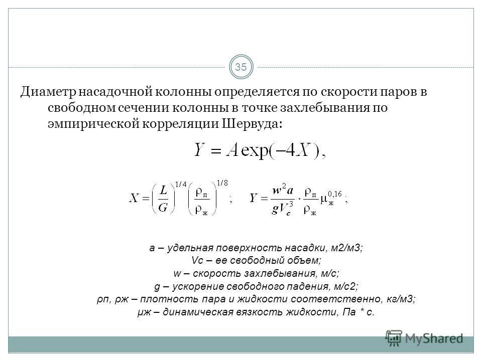 35 Диаметр насадочной колонны определяется по скорости паров в свободном сечении колонны в точке захлебывания по эмпирической корреляции Шервуда: a – удельная поверхность насадки, м2/м3; Vc – ее свободный объем; w – скорость захлебывания, м/с; g – ус