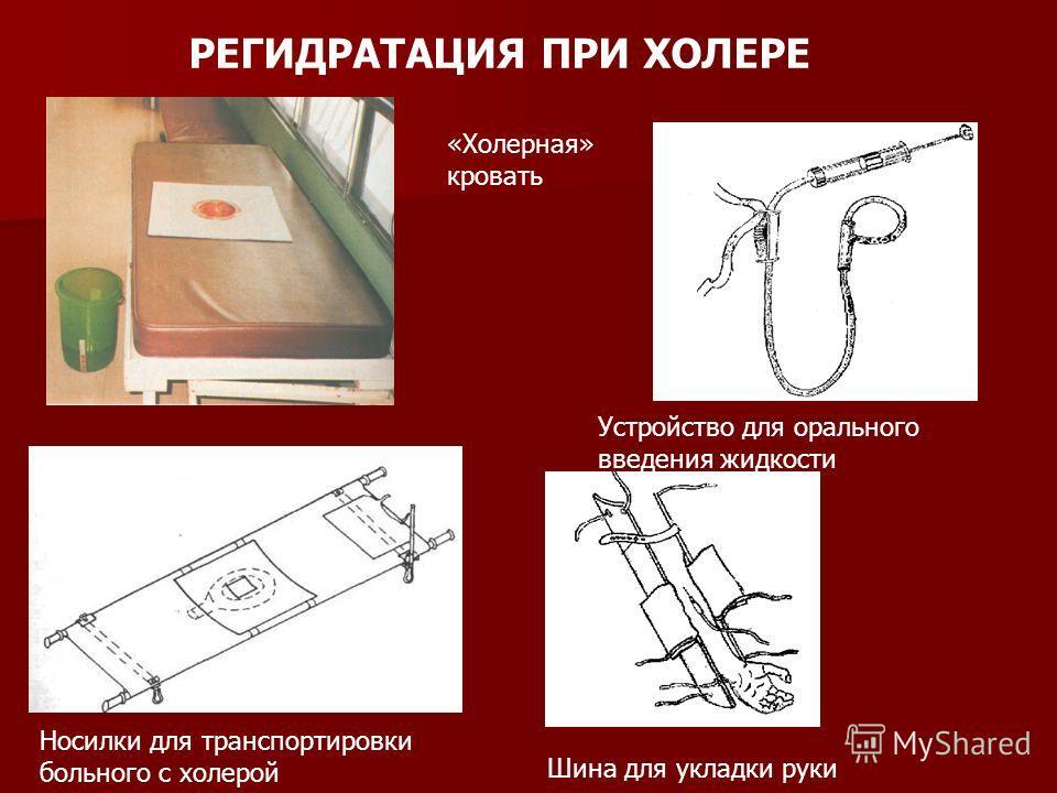 РЕГИДРАТАЦИЯ ПРИ ХОЛЕРЕ «Холерная» кровать Носилки для транспортировки больного с холерой Устройство для орального введения жидкости Шина для укладки руки