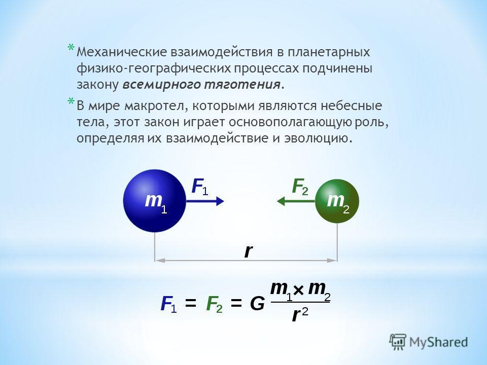 * Механические взаимодействия в планетарных физико-географических процессах подчинены закону всемирного тяготения. * В мире макротел, которыми являются небесные тела, этот закон играет основополагающую роль, определяя их взаимодействие и эволюцию.