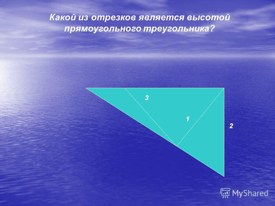 Какой из отрезков является высотой прямоугольного треугольника? 2 1 3
