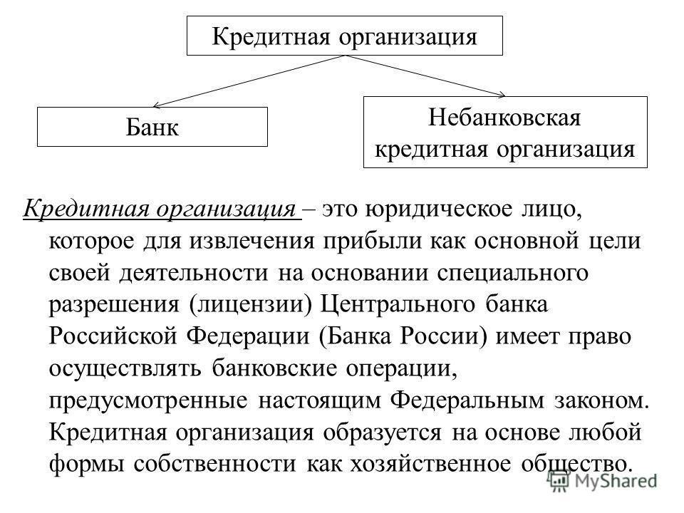 Кредитная организация – это юридическое лицо, которое для извлечения прибыли как основной цели своей деятельности на основании специального разрешения (лицензии) Центрального банка Российской Федерации (Банка России) имеет право осуществлять банковск