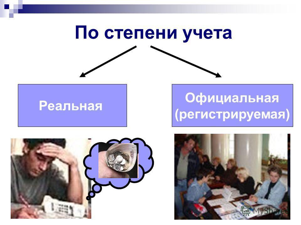 По степени учета Реальная Официальная (регистрируемая)