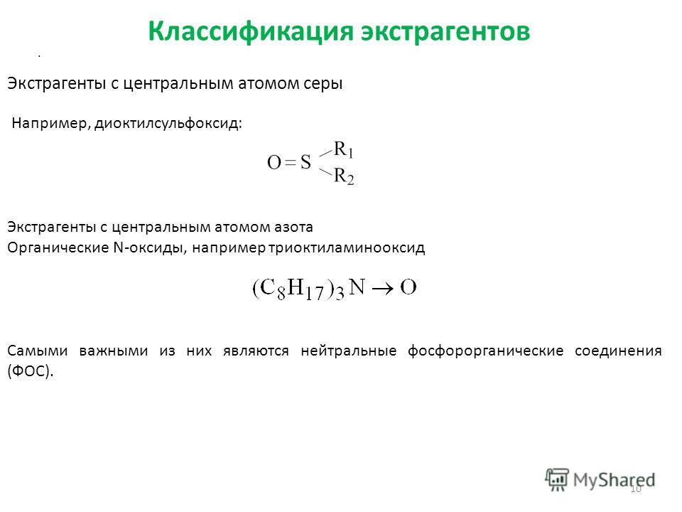 Классификация экстрагентов 10 Экстрагенты с центральным атомом серы Например, диоктилсульфоксид: Экстрагенты с центральным атомом азота Органические N-оксиды, например триоктиламинооксид. Самыми важными из них являются нейтральные фосфорорганические