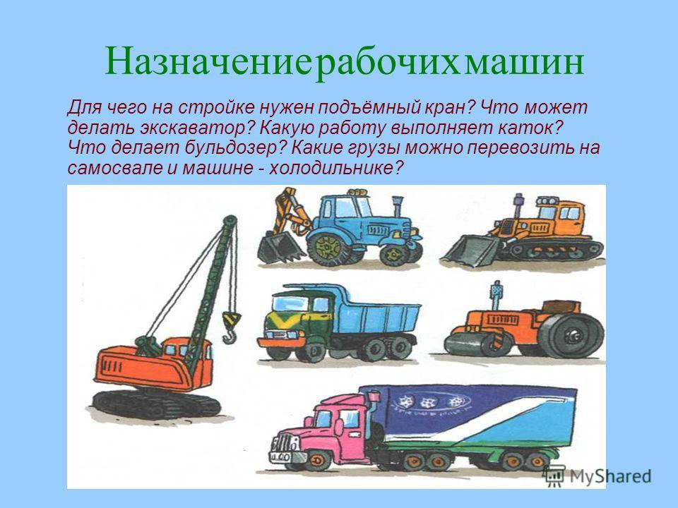 www.logoped.ru Назначение рабочих машин Для чего на стройке нужен подъёмный кран? Что может делать экскаватор? Какую работу выполняет каток? Что делает бульдозер? Какие грузы можно перевозить на самосвале и машине - холодильнике?