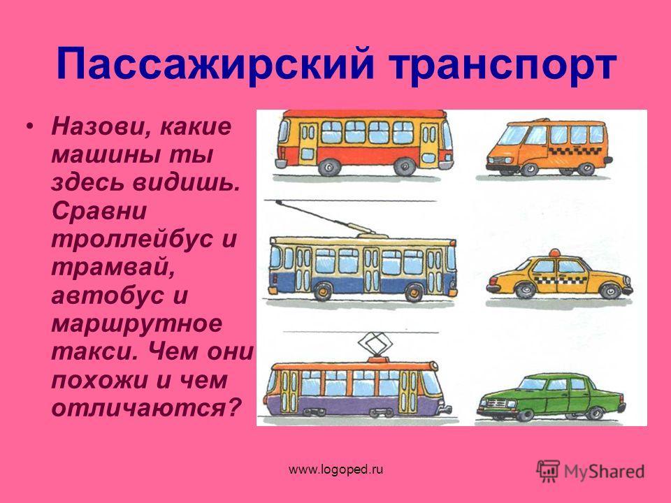 www.logoped.ru Пассажирский транспорт Назови, какие машины ты здесь видишь. Сравни троллейбус и трамвай, автобус и маршрутное такси. Чем они похожи и чем отличаются?