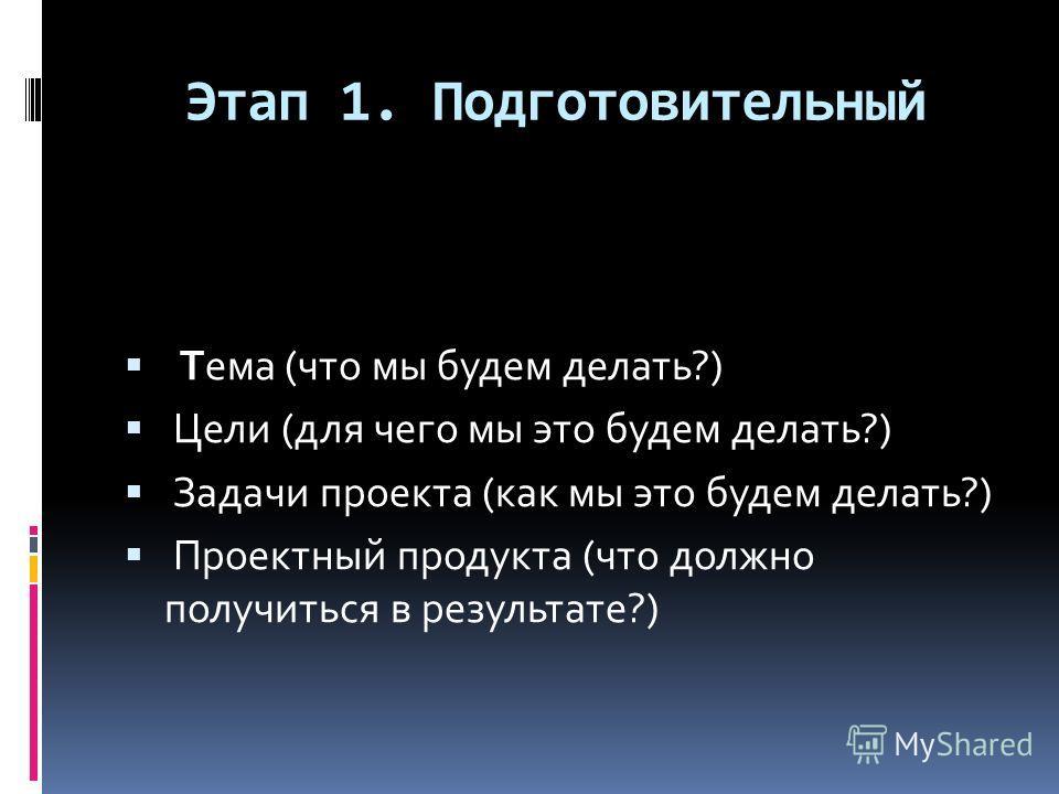 Этап 1. Подготовительный Тема (что мы будем делать?) Цели (для чего мы это будем делать?) Задачи проекта (как мы это будем делать?) Проектный продукта (что должно получиться в результате?)