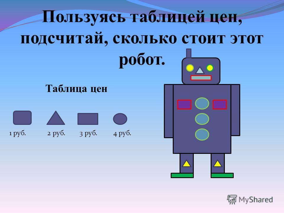 Пользуясь таблицей цен, подсчитай, сколько стоит этот робот. Таблица цен 1 руб. 2 руб. 3 руб. 4 руб.