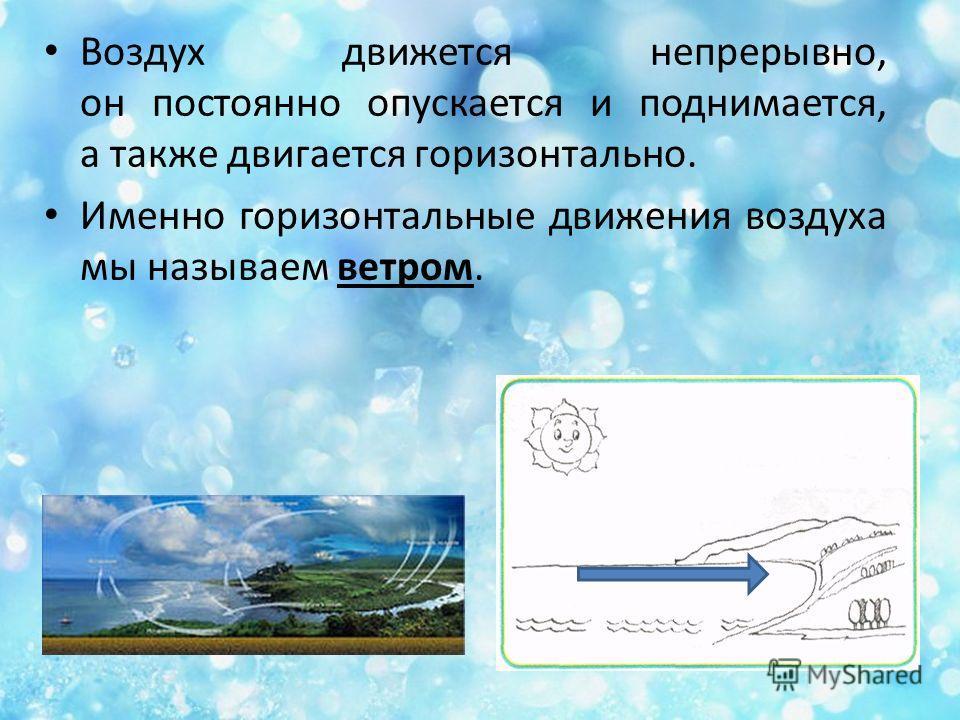 Воздух движется непрерывно, он постоянно опускается и поднимается, а также двигается горизонтально. Именно горизонтальные движения воздуха мы называем ветром.
