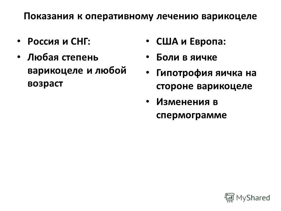 Показания к оперативному лечению варикоцеле Россия и СНГ: Любая степень варикоцеле и любой возраст США и Европа: Боли в яичке Гипотрофия яичка на стороне варикоцеле Изменения в спермограмме