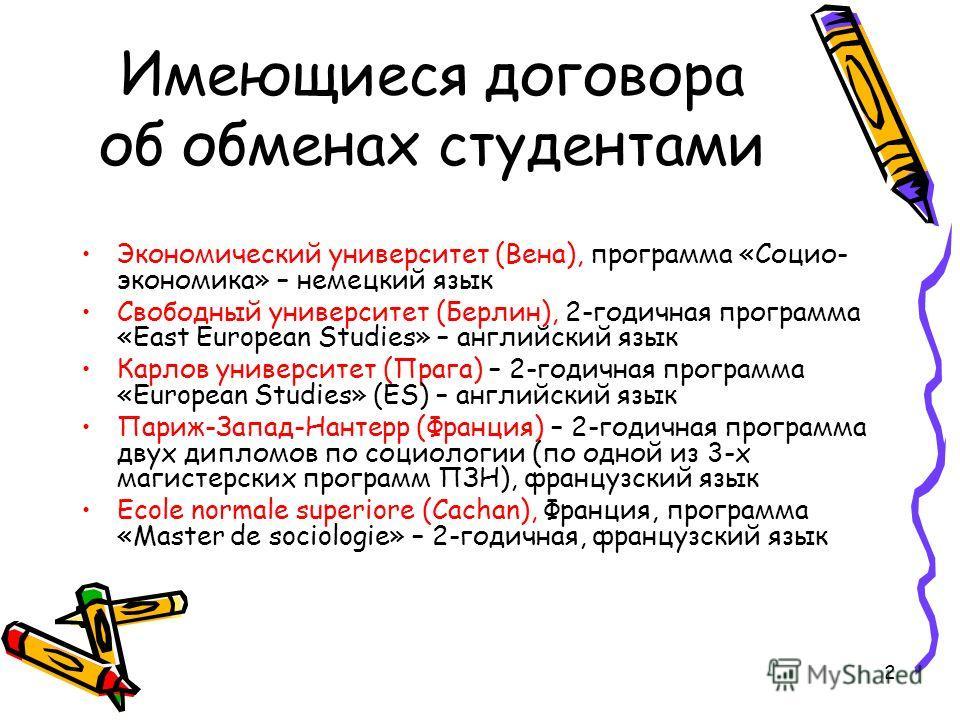 2 Имеющиеся договора об обменах студентами Экономический университет (Вена), программа «Социо- экономика» – немецкий язык Свободный университет (Берлин), 2-годичная программа «East European Studies» – английский язык Карлов университет (Прага) – 2-го