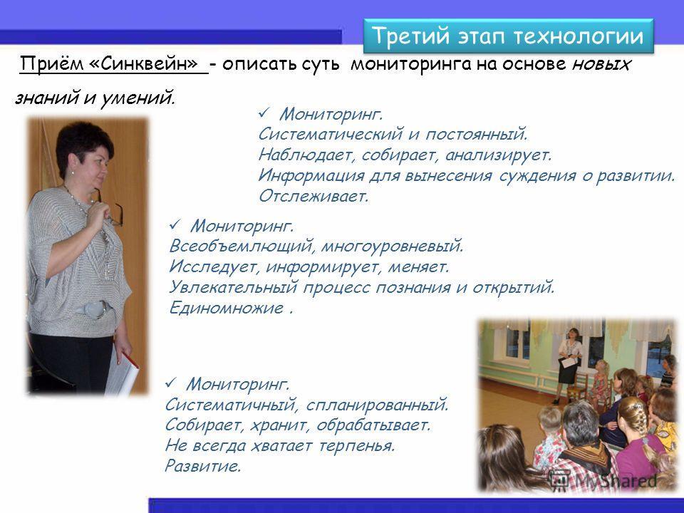 Третий этап технологии Приём «Синквейн» - описать суть мониторинга на основе новых знаний и умений. Мониторинг. Систематический и постоянный. Наблюдает, собирает, анализирует. Информация для вынесения суждения о развитии. Отслеживает. Мониторинг. Все