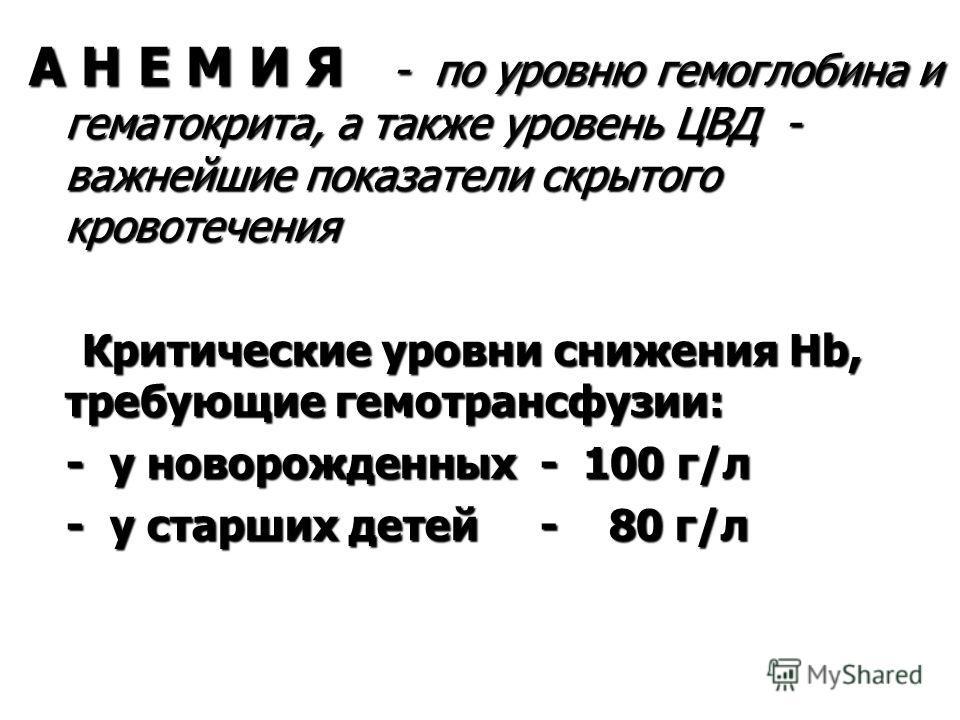 А Н Е М И Я - по уровню гемоглобина и гематокрита, а также уровень ЦВД - важнейшие показатели скрытого кровотечения Критические уровни снижения Hb, требующие гемотрансфузии: Критические уровни снижения Hb, требующие гемотрансфузии: - у новорожденных