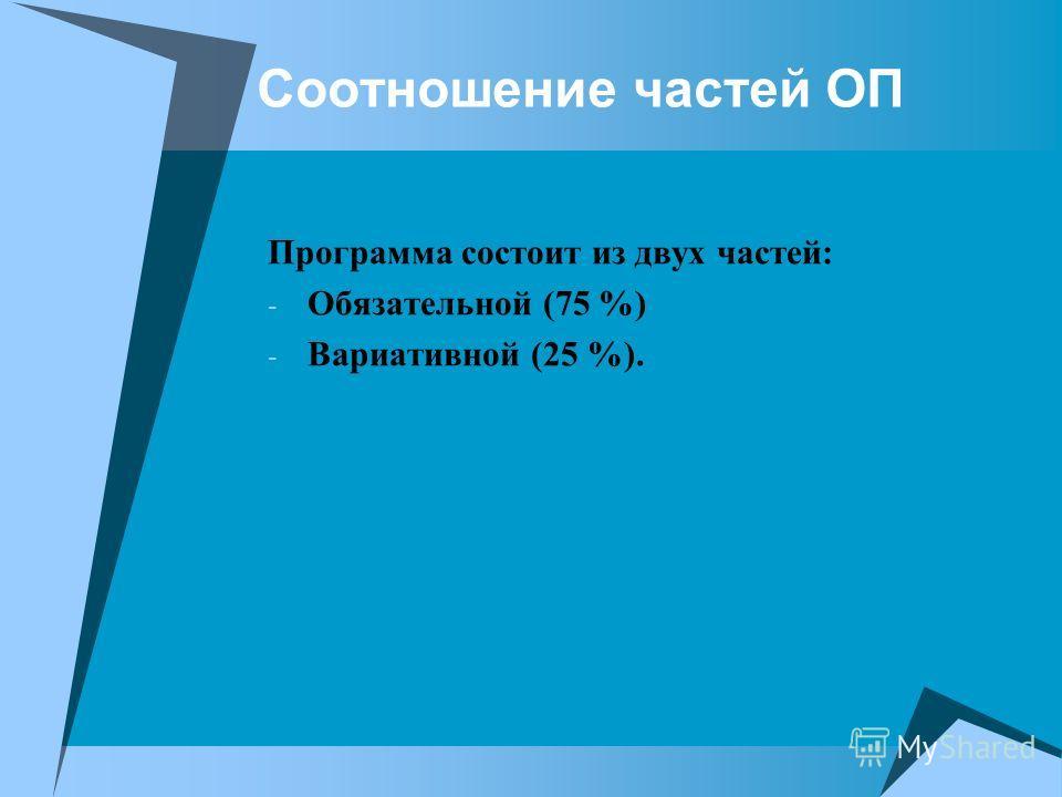 Соотношение частей ОП Программа состоит из двух частей: - Обязательной (75 %) - Вариативной (25 %).