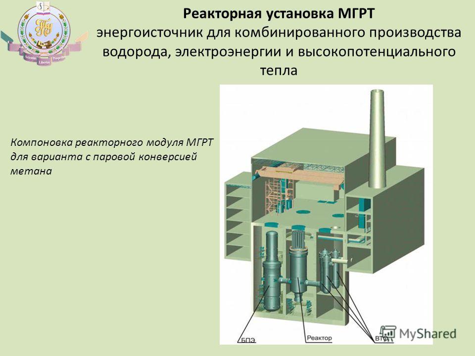 Реакторная установка МГРТ энергоисточник для комбинированного производства водорода, электроэнергии и высокопотенциального тепла Компоновка реакторного модуля МГРТ для варианта с паровой конверсией метана