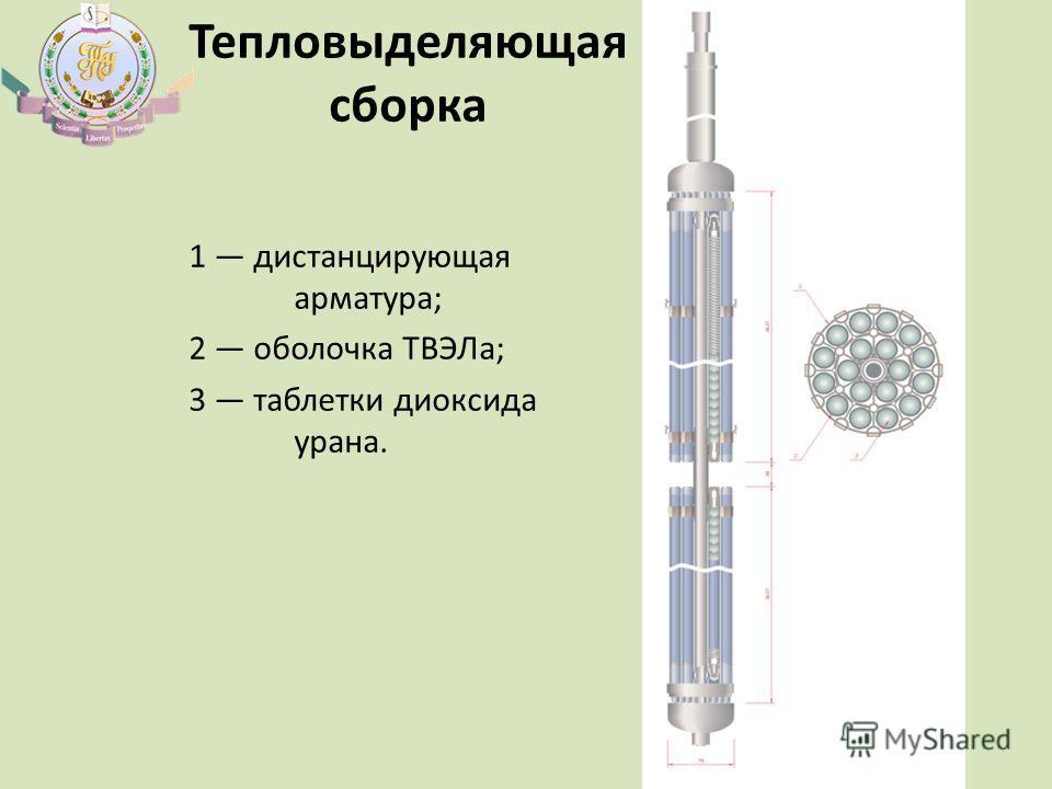 Тепловыделяющая сборка 1 дистанцирующая арматура; 2 оболочка ТВЭЛа; 3 таблетки диоксида урана.