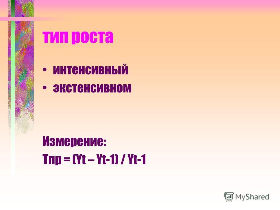 тип роста интенсивный экстенсивном Измерение: Тпр = (Yt – Yt-1) / Yt-1