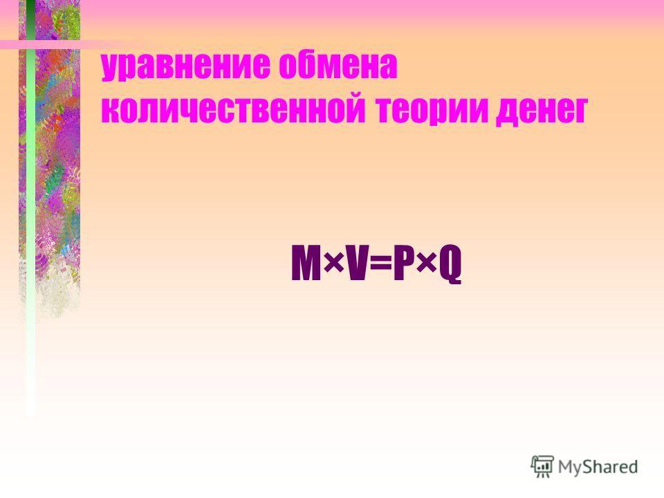 уравнение обмена количественной теории денег M×V=P×Q