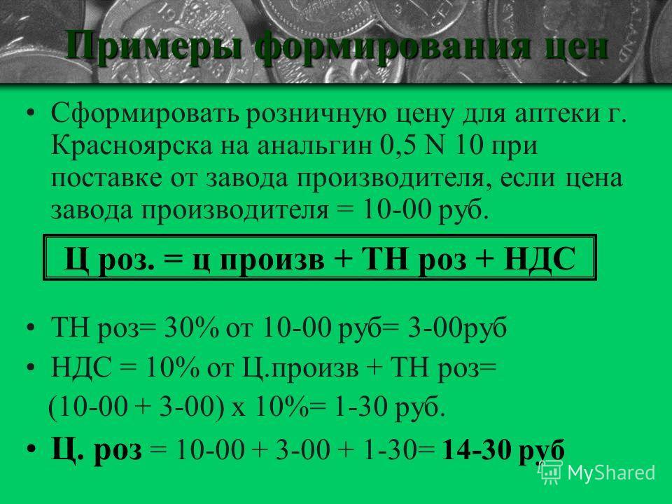 Примеры формирования цен Сформировать розничную цену для аптеки г. Красноярска на анальгин 0,5 N 10 при поставке от завода производителя, если цена завода производителя = 10-00 руб. ТН роз= 30% от 10-00 руб= 3-00руб НДС = 10% от Ц.произв + ТН роз= (1