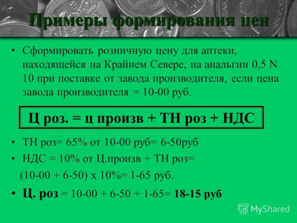 Примеры формирования цен Сформировать розничную цену для аптеки, находящейся на Крайнем Севере, на анальгин 0,5 N 10 при поставке от завода производителя, если цена завода производителя = 10-00 руб. ТН роз= 65% от 10-00 руб= 6-50руб НДС = 10% от Ц.пр
