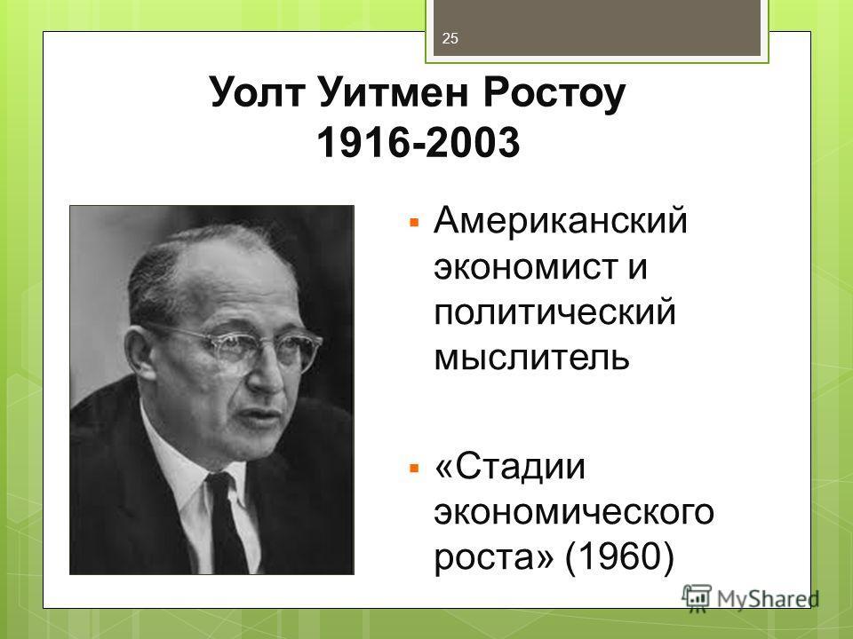Уолт Уитмен Ростоу 1916-2003 Американский экономист и политический мыслитель «Стадии экономического роста» (1960) 25