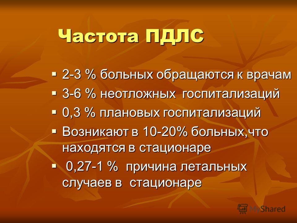 Частота ПДЛС 2-3 % больных обращаются к врачам 2-3 % больных обращаются к врачам 3-6 % неотложных госпитализаций 3-6 % неотложных госпитализаций 0,3 % плановых госпитализаций 0,3 % плановых госпитализаций Возникают в 10-20% больных,что находятся в ст
