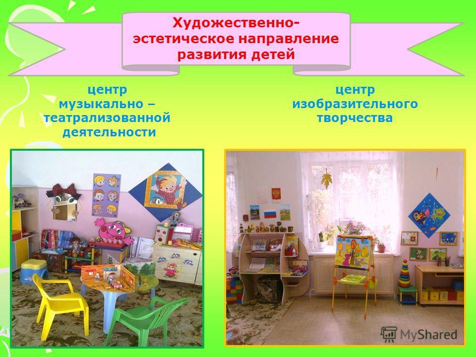 Художественно- эстетическое направление развития детей центр музыкально – театрализованной деятельности центр изобразительного творчества