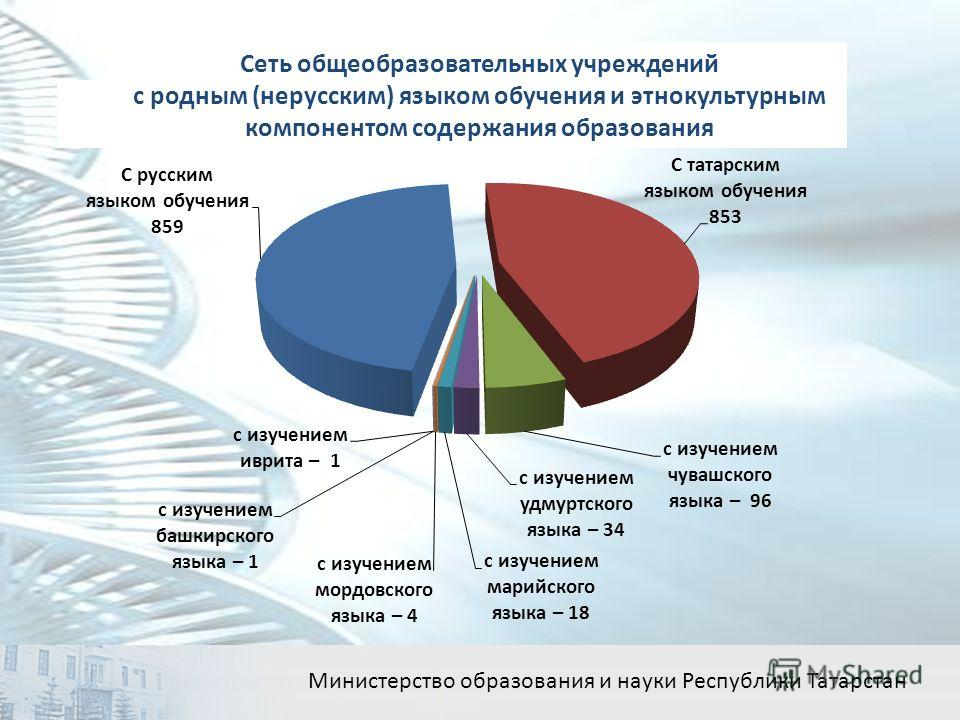 Сеть общеобразовательных учреждений с родным (нерусским) языком обучения и этнокультурным компонентом содержания образования Министерство образования и науки Республики Татарстан