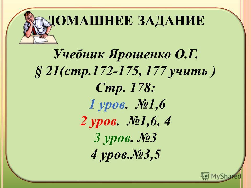 ДОМАШНЕЕ ЗАДАНИЕ Учебник Ярошенко О.Г. § 21(стр.172-175, 177 учить ) Стр. 178: 1 уров. 1,6 2 уров. 1,6, 4 3 уров. 3 4 уров.3,5