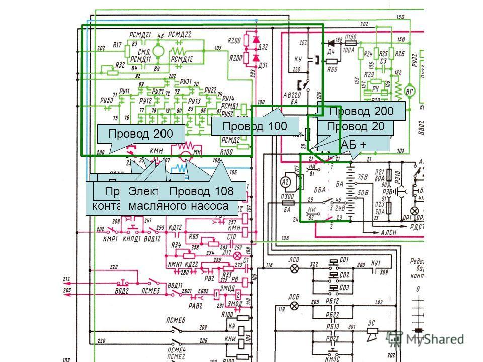 + АБ Рубильник АБ + Провод 20R21 СЗБ Провод 200 Автомат АВ251 Провод 251 Силовой контакт КМН Провод 207 Электродвигатель масляного насоса Провод 108 Провод 100